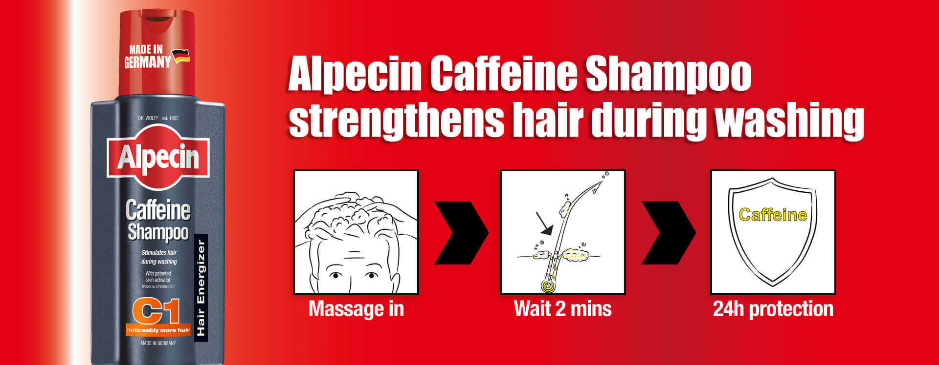 Alpecin Caffeine Shampoo strenghtens hair during washing